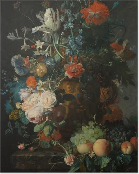 Poster Jan van Huysum - Still life with flowers - Reproduktion