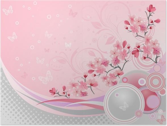 poster japanische kirschbl te pixers wir leben um zu. Black Bedroom Furniture Sets. Home Design Ideas