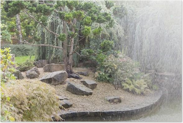 Poster Jardin japonais et fontaine