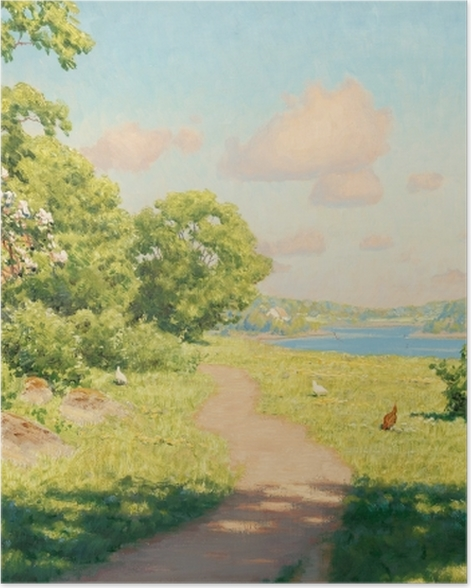 Poster Johan Krouthén - Landschaft mit Hühnern - Reproductions