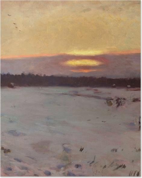 Poster Józef Chełmoński - Sonnenuntergang im Winter - Reproductions