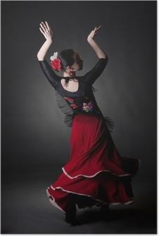 Poster Junge Frau tanzen Flamenco auf schwarz