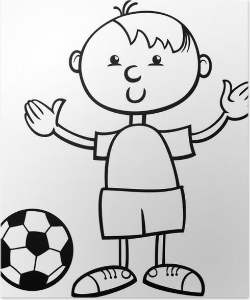 Poster Junge mit ball cartoon Malvorlagen • Pixers® - Wir leben, um ...