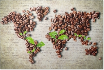 Poster Kaffee auf der ganzen Welt