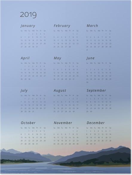 Poster Kalender 2019 - behalten Sie Ruhe -