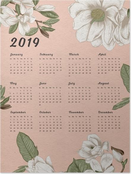 Poster Kalender 2019 - Blumen -