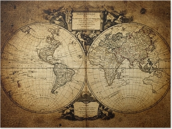 Poster Karte der Welt 1752