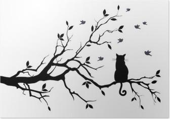 Poster Katze auf einem Baum mit Vögeln, Vektor
