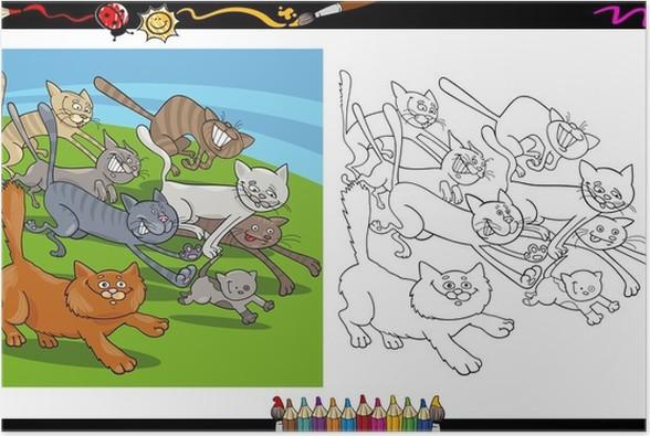 Poster Katzen laufen Cartoon Färbung Seite • Pixers® - Wir leben, um ...
