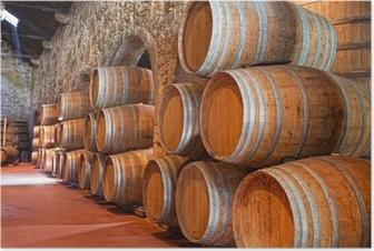 Poster Keller mit Weinfässern