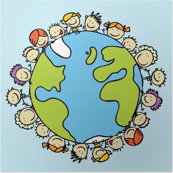 Poster Kinder Auf Der Ganzen Welt Zusammen Zu Retten Den Planeten Erde