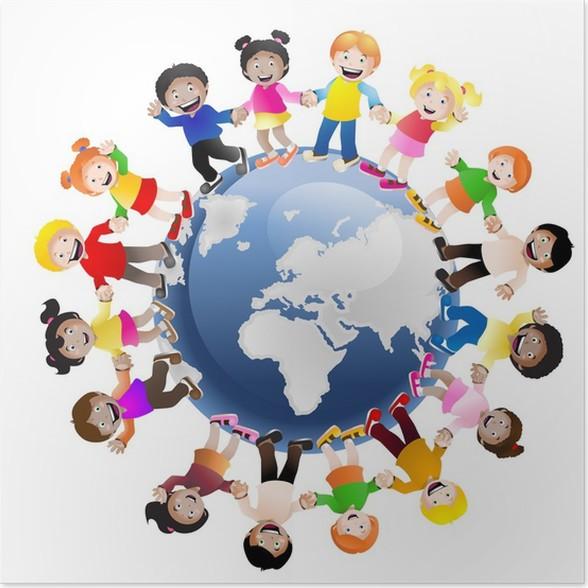 Poster Kinder Auf Der Ganzen Welt