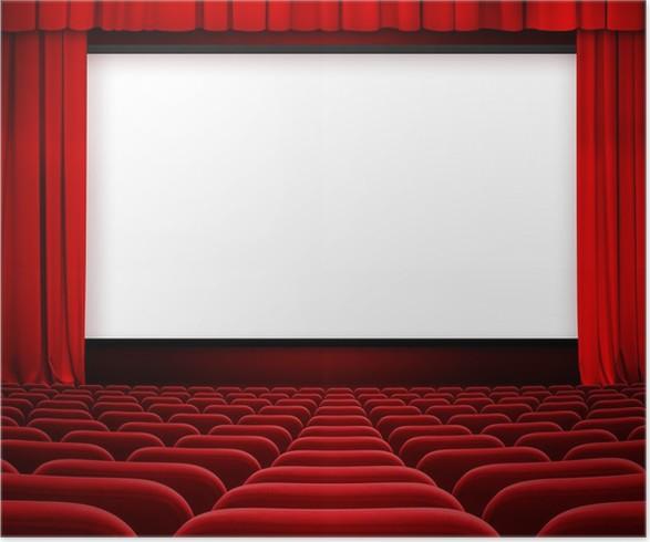 Poster Kinoleinwand Mit Offenem Vorhang Und Roten Sitzen