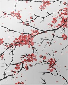Poster Kirsche oder sakura nahtlose Muster Hintergrund