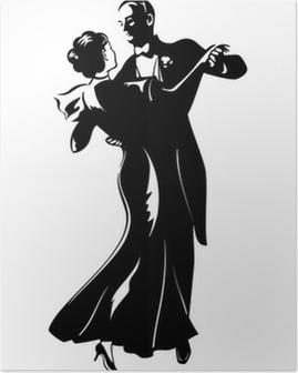 Poster Klassische Tanz-Paar Silhouette isoliert
