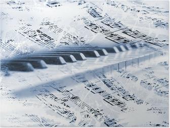 Poster Klaviertasten mit Noten