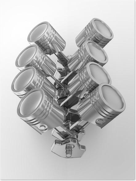 Poster Kolben und Kurbelwelle auf weißem Hintergrund (V8 Motor ...