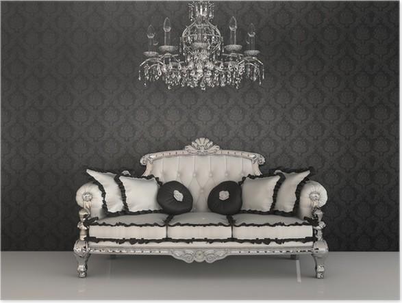 Poster Königliche Sofa mit Kissen und Kronleuchter im luxuriösen ...