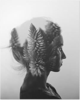 Poster Kreative Doppelbelichtung mit dem Porträt des jungen Mädchens und Blumen, monochrome
