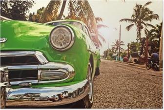 Poster Kuba, Oldtimer in Havanna