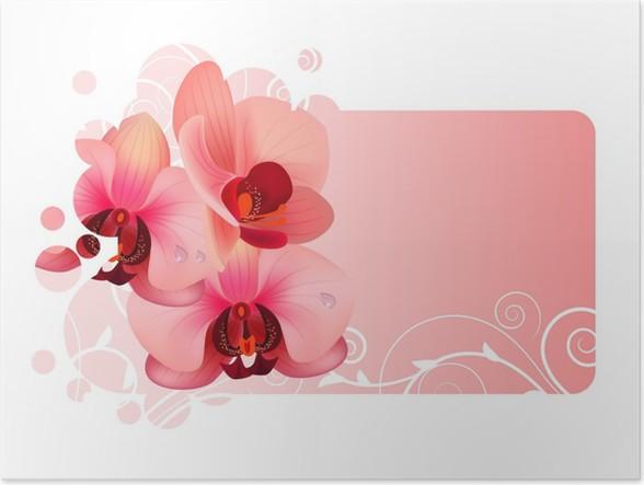 poster kunstvolle rahmen mit orchidee rosa bl ten pixers wir leben um zu ver ndern. Black Bedroom Furniture Sets. Home Design Ideas