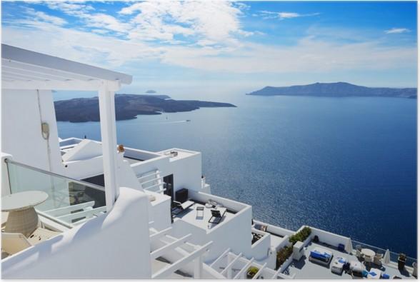 Poster La terrazza vista mare in hotel di lusso, isola di Santorini ...