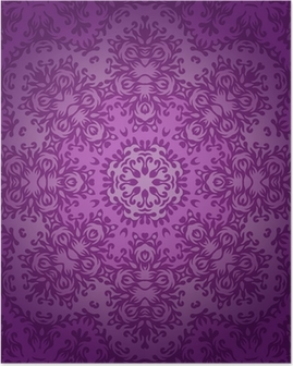 Poster Lace circle oriental ornament, ornamental doily pattern on viole