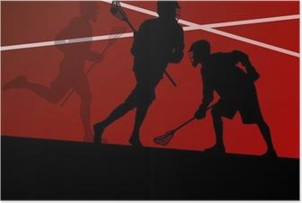 Poster Lacrosse-Spieler aktiven Sport Silhouetten Hintergrund illustrati