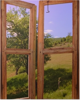 Poster Landschaft durch ein Fenster gesehen