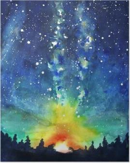 Poster Landschaft. Wald, Nachthimmel, Sterne, Raum. Aquarell Hand Schmerzen
