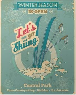 Poster Lassen Sie uns zum Skifahren Retro-Poster