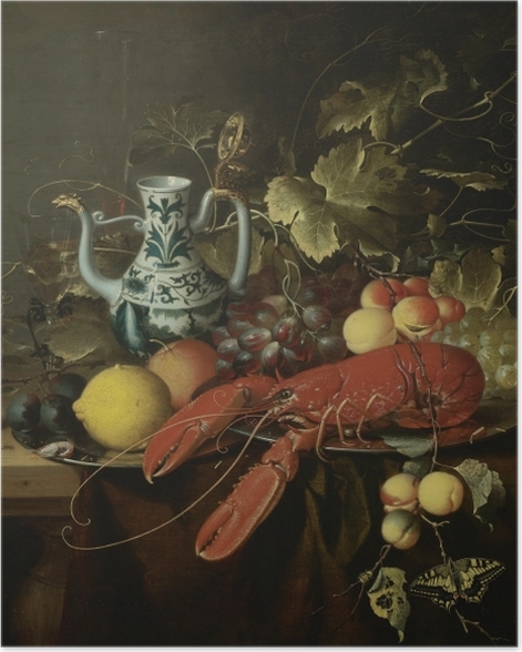 Poster Laurens Craen - Still Life With A Lobster On A Pewter Plate, Lemons, Grapes, Apricots, Oysters - Reproduktion