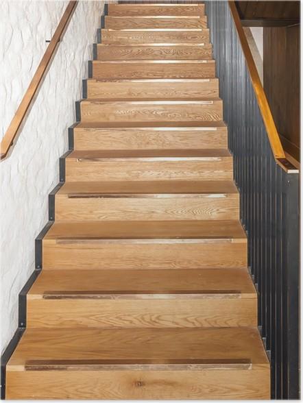 Poster Legno di rovere scale dritte • Pixers® - Viviamo per il ...