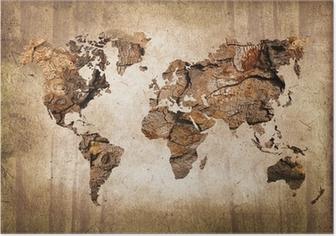 Poster Legno mappa del mondo, texture vintage