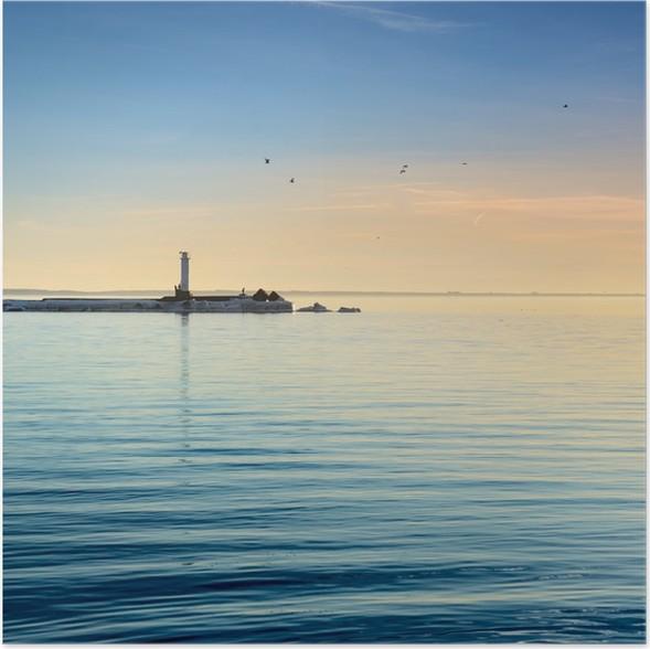 Poster Leuchtturm im Meer an der farbenprächtigen Sonnenuntergang - Infrastruktur