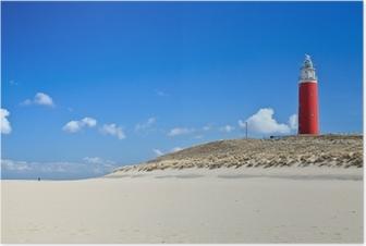 Poster Leuchtturm in den Dünen am Strand