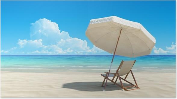 Liegestuhl mit sonnenschirm strand  Poster Liegestuhl und Sonnenschirm am idyllischen tropischen Strand ...