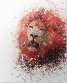 Poster Lion Head Aquarell