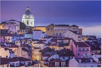 Poster Lisbona, Portogallo Skyline di Alfama