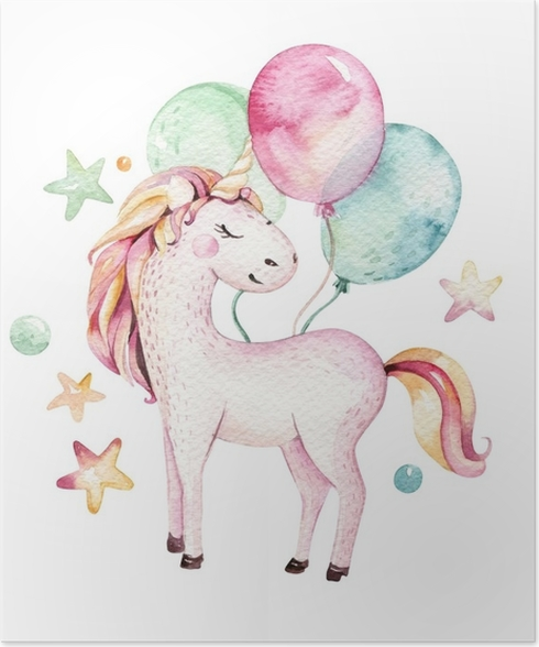 Kinderzimmer clipart  Poster Lokalisiertes nettes Aquarell Unicorn Clipart. Kinderzimmer ...