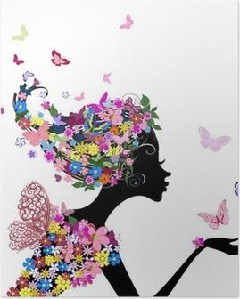Poster Mädchen mit Blumen und Schmetterlingen