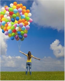 Poster Mädchen mit bunten Luftballons