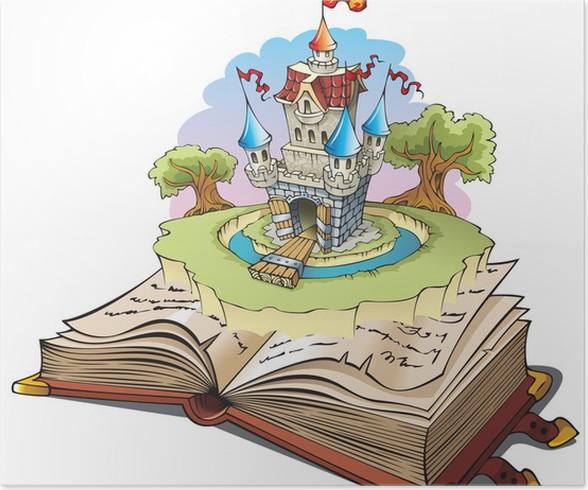 Poster magico mondo delle favole illustrazione vettoriale
