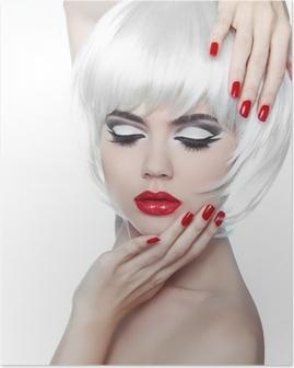 Poster Make-up und Frisur. Rote Lippen und gepflegte Nägel. Fashion Beau