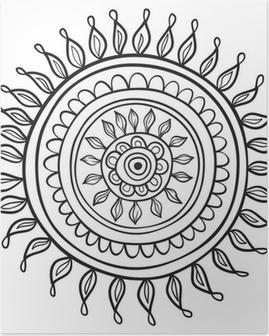 Poster Mandala Muster schwarz und weiß isoliert in Vektor