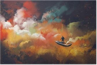 Poster Mann auf einem Boot im Weltraum mit bunten Wolke, Illustration