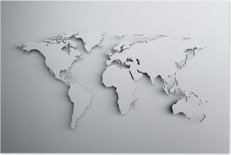 Poster Mappa del mondo 3d
