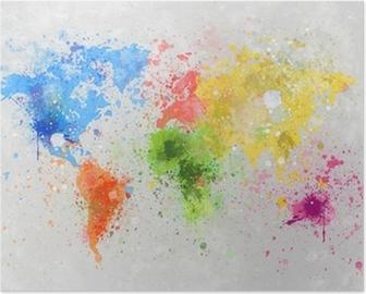 Poster Mappa del mondo pittura