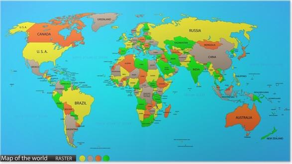 Poster mappa del mondo politico pixers viviamo per il - Mappa del mondo contorno ks2 ...