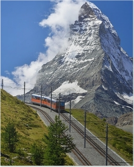 Poster Matterhorn Bahn von Zermatt auf den Gornergrat. Schweiz